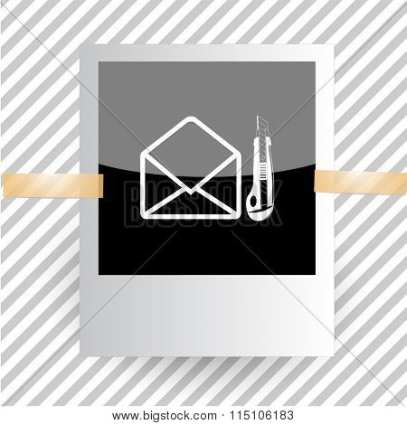 mail with knife. Photoframe. Raster icon.