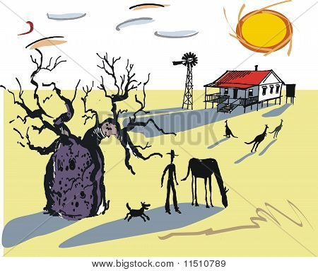 Australian outback boab tree illustration