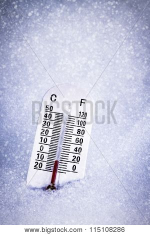 Thermometer In The Snow With Both Celsius And Fahrenheit