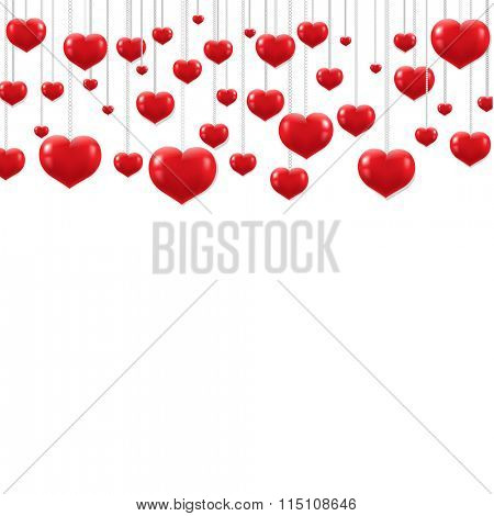 Red Hearts Border With Gradient Mesh, Vector Illustration
