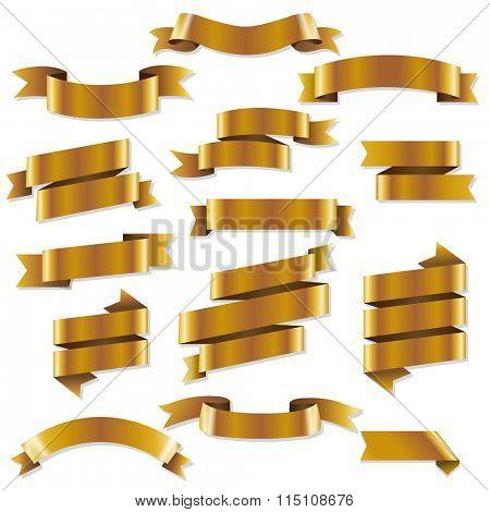 Golden Web Ribbons, Vector Illustration