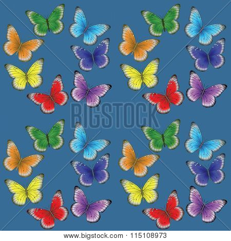 multi-colored butterflies on a blue background