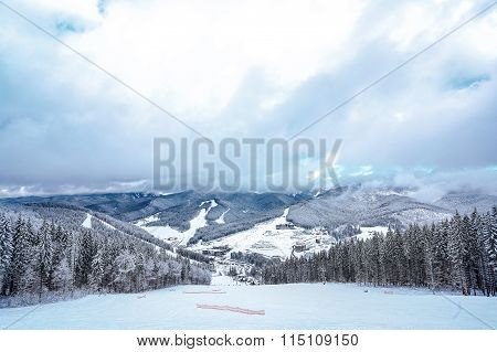 Beautiful view from the mountain ski slope