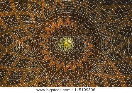 Decoration inside main dome of Sultan Salahuddin Abdul Aziz Shah Mosque or Shah Alam Mosque