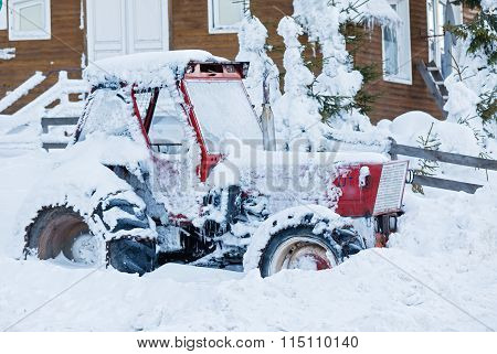 Tractor In The Snow
