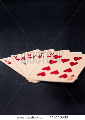 Royal Flush Cards In Heart, Vintage Style Colors