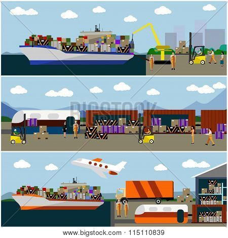 Logistic transportation concept flat banners. Vector set of rail and ships transport delivery, shipp