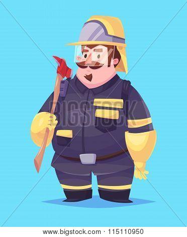 Funny  illustration of fireman cartoon character. Isolated vector illustration.