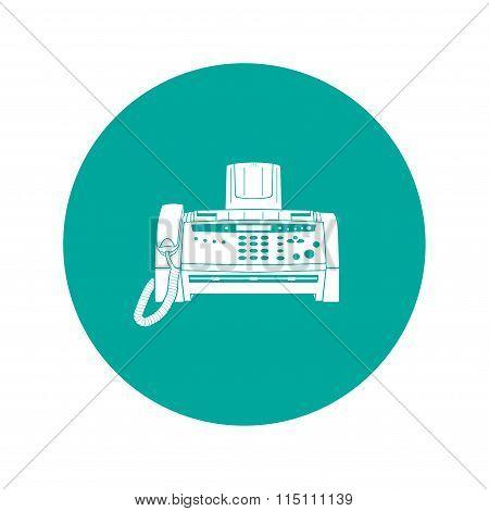 Fax Machine. Flat Design Style.