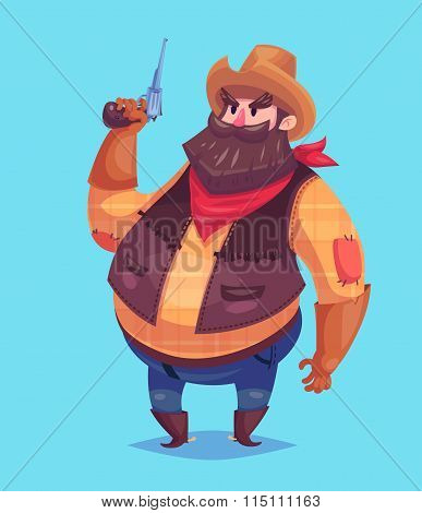 Funny  illustration of cowboy cartoon character. Isolated vector illustration.