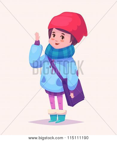 Funny  illustration of schoolgirl or student cartoon character. Isolated vector illustration.