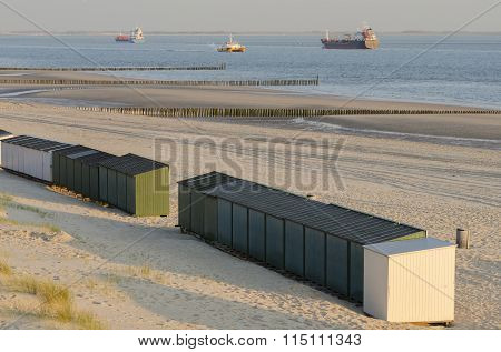 Beach Huts On A Beach In Zeeland .