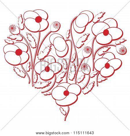 Poppy Flowers Heart Shape