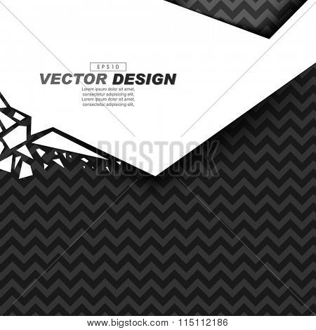 black and gray zigzag pattern background on white banner broken glass effect
