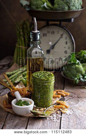 Jar with homemade pesto sauce
