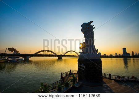 Dragon River Bridge ( Rong Bridge) in sunset in Da Nang, Vietnam.