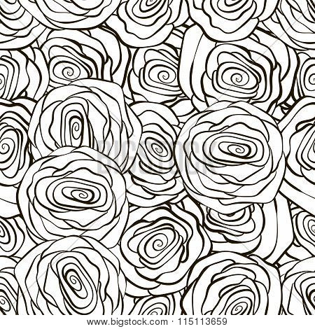 Beautiful black and white seamless pattern in roses with contours. Hand-drawn contour lines