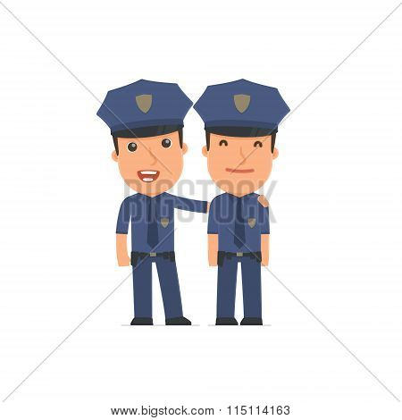 Joyful Character Officer And His Best Friend Standing Together