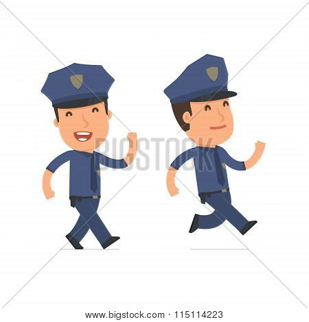 Happy And Cheerful Character Officer Goes And Runs