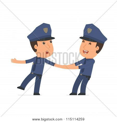 Funny And Cheerful Character Officer Drags His Friend To Show Him Something