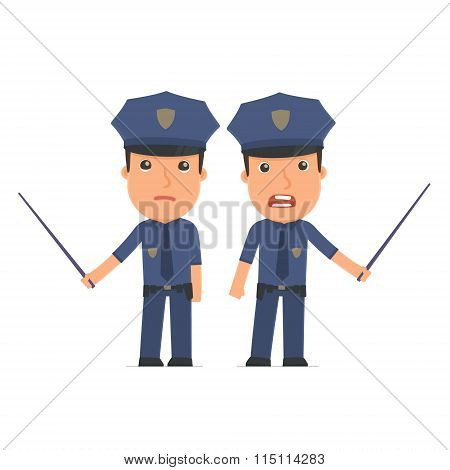 Angry And Sad Character Officer Making Presentation Using Pointer