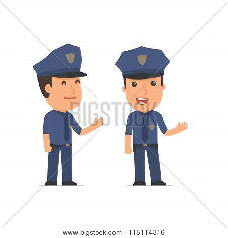 Happy And Intelligent Character Officer Making Presentation Using His Hand