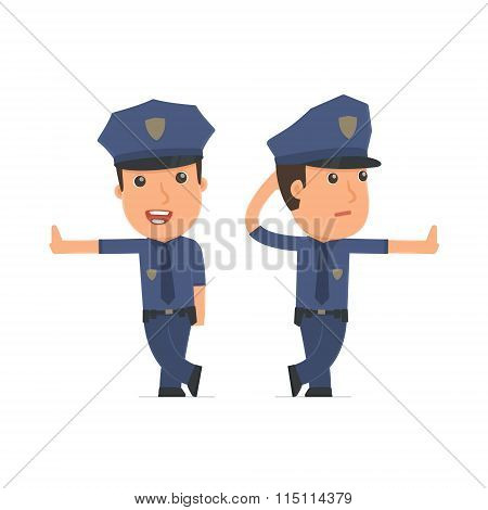 Doubt And Funny Character Officer Leaned Against The Wall And Shares Information
