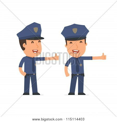 Funny And Cheerful Character Officer Showing Thumb Up As A Symbol Of Approval