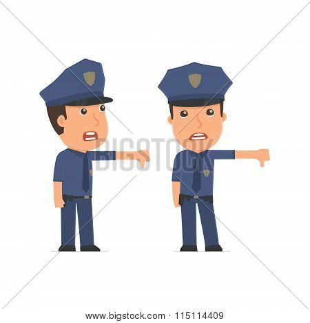 Frustrated And Angry Character Officer Showing Thumb Down As A Symbol Of Negative