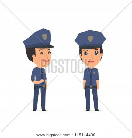 Happy Character Constabulary Standing In Relaxed Pose