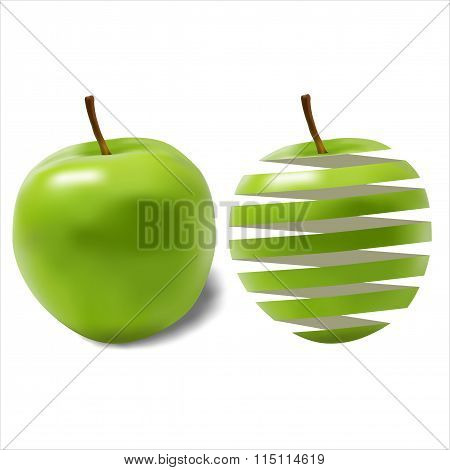 Green Ripe Juicy Apple And Its Peel