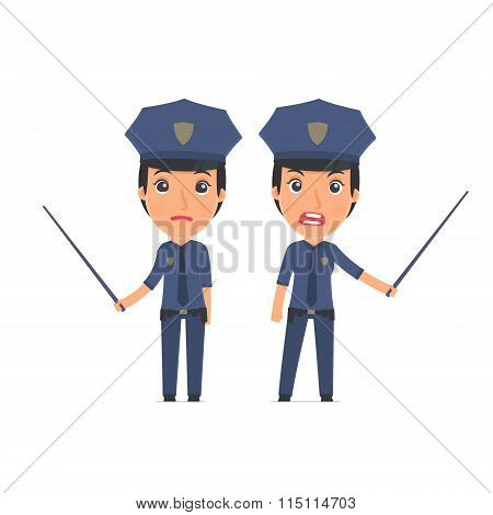 Angry And Sad Character Constabulary Making Presentation Using Pointer
