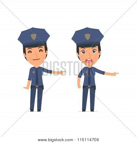 Happy And Angry Character Constabulary Making Presentation Using His Hand