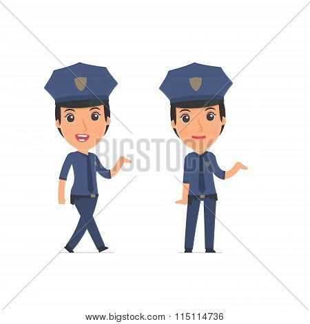 Funny And Cheerful Character Constabulary Making Presentation Using His Hand