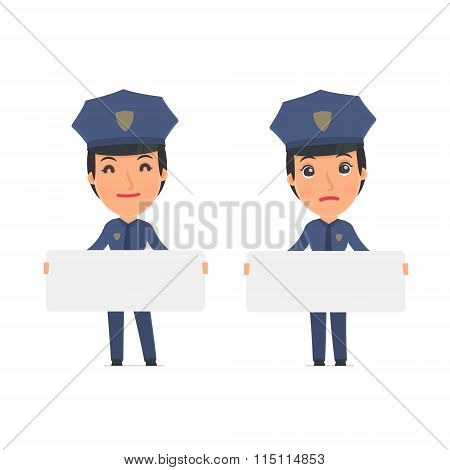 Funny Character Constabulary Holds And Interacts With Blank Forms Or Objects