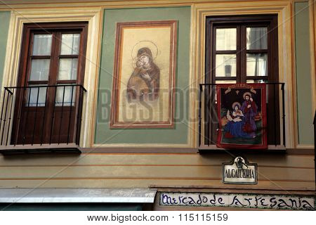 The icon of the Virgin Mary. Granada. Spain.