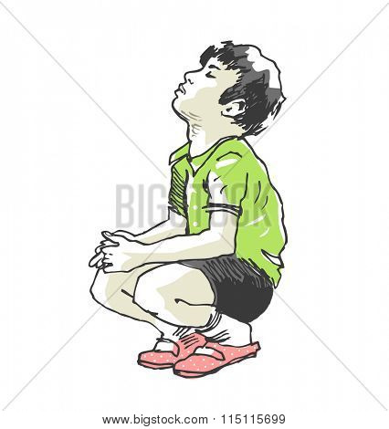 Young boy sitting on the ground. Hand-drawn vector image.