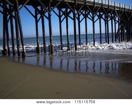 Wooden Structure Of Pier In California