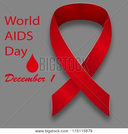 December 1 World Aids Day Red Satin Ribbon On A Gray Background With The Text ..