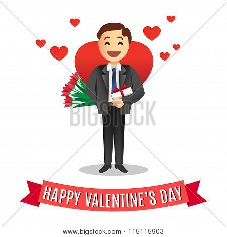 Romantic cartoon man with flowers and gift for Valentines Day, Vector Illustration.
