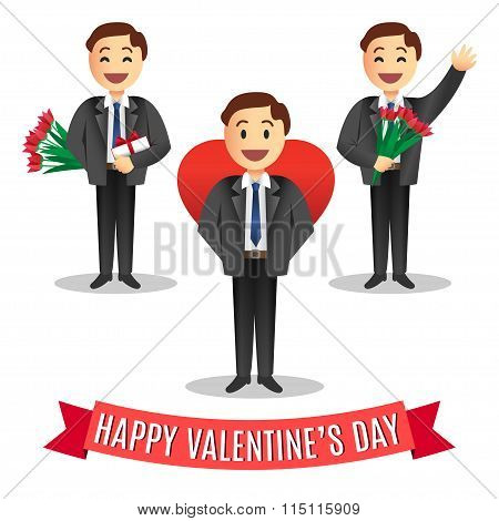Set of Romantic cartoon men's with flowers and gift for Valentines Day, Vector Illustration.