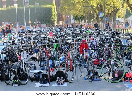 Many Colorful Bicycles Parked In The Triathlon Transition Zone