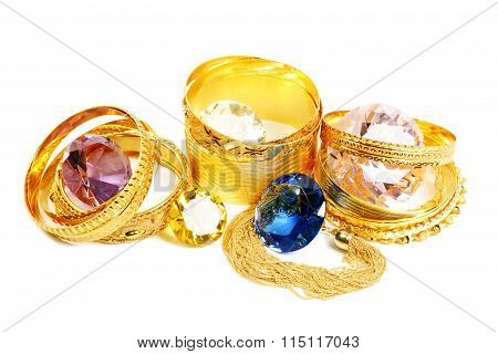 Golden bracelets and diamonds
