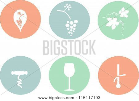 Wine round icons, flat design. White outlines on the red, green, blue, bunch of grapes, a pointer, c