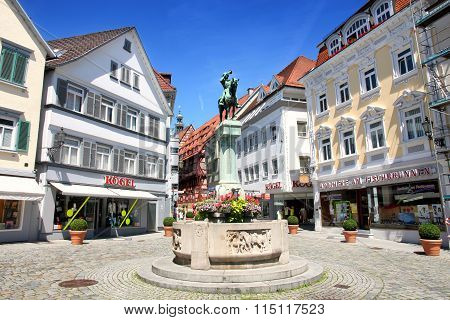 Esslingen Am Neckar, Germany - 18 July: Postman Michel Fountain (postmichelbrunnen) On Street Innere