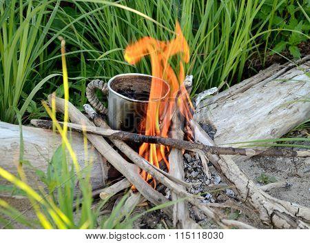 Marching Mug On A Bonfire