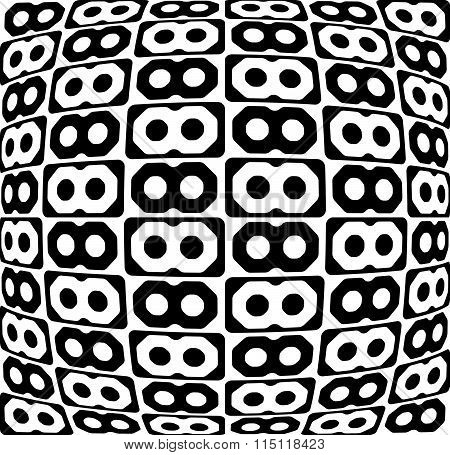 Abstract Monochrome Pattern, Background With Connected Octagon Shapes.