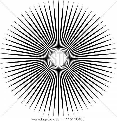 Bursting, Radiating Lines. Converging, Pointed Abstract Element. Vector