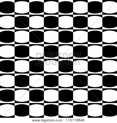 Abstract Monochrome Geometric Pattern With Mosaic Of Oval Shapes. Black And White Seamlessly Repeata