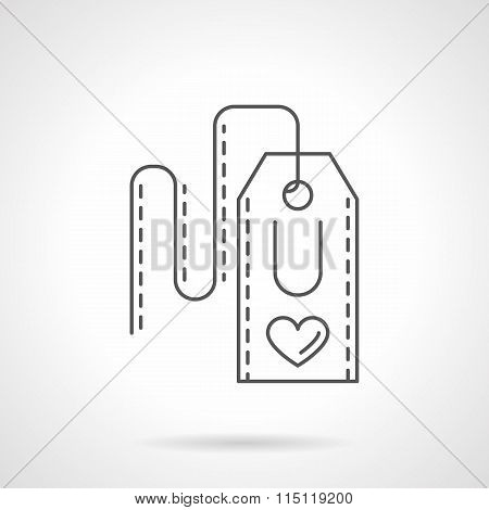Label with heart flat line vector icon